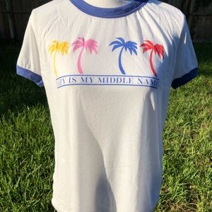 Wildfox vintage lazy ringer tee Palm trees M